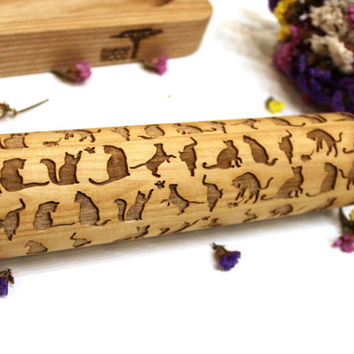 Cats Embossing Rolling Pin, Engraved Rolling Pin,  Christmas Gift, Pattern Roller, Embossed Dough Roller, Dough Roller, Laser Engraved, Big