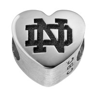 Fiora Sterling Silver Notre Dame Fighting Irish Logo Heart Bead (Grey)