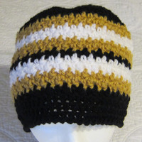 Crochet Sports NFL Inspired Beanie New Orleans Saints in Adult Sizes !!!For The Next Month All Sports Hats Are On Sale For 12.00 Yeah!!!