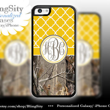 Monogram Iphone 5C case iPhone 5s  iPhone 4 case Ipod 4 5 Touch case Real Tree Camo Yellow Quatrefoil Personalized Country Girl