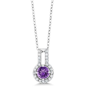 Round Purple Amethyst White Created Sapphire Necklaces For Women