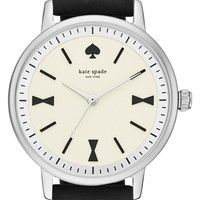 Women's kate spade new york 'crosby' leather strap watch, 34mm - Black/ Silver