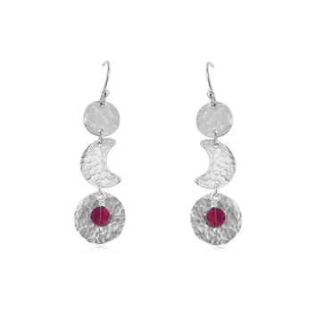 Moon Phase Earrings,  Garnet and Sterling Silver, blood moon