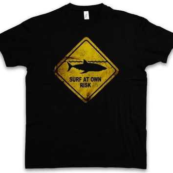 Surfing Surfer Slacker T-shirt 2018 New Brand Clothing SHARK WARNING SIGN T-SHIRT Hai Surfer Surfinger Diver Taucher Strand100% Cotton Shirts KO_12_1