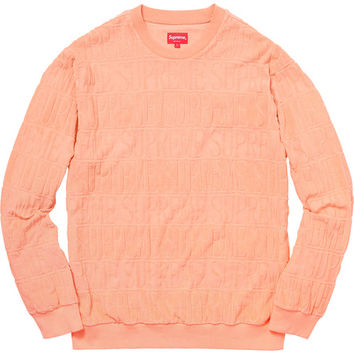 Supreme: Logo Stripe Terry Crewneck - Peach