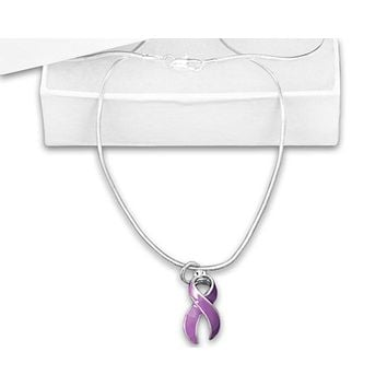 Purple Ribbon 16 or 18 Inch Necklace for all Causes