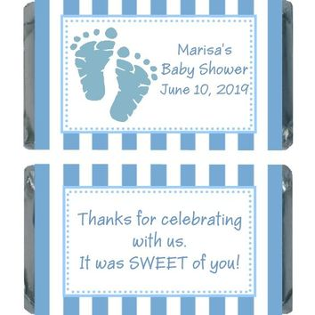 18 Blue Baby Feet Baby Shower Miniature Chocolate Bar Wrappers