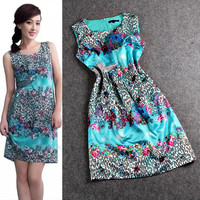 Green Sleeveless Printed A-Line Mini Dress