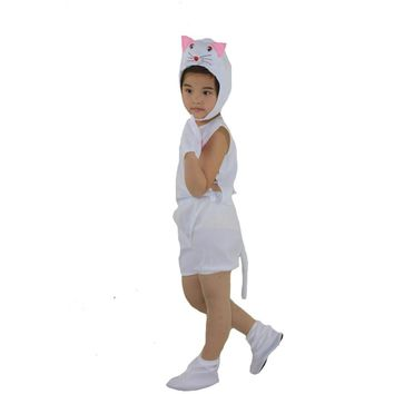 Cute Short Sleeved White Cat Animal Cosplay Costume For Children Performance Show Clothing Set Halloween Carnival Party Supplies