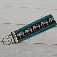 Key Fob - Wristlet - keyChain -  keylette - key chain - cream elephants on black