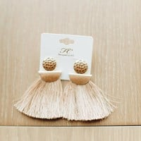 Broadway Beige Fringe Earrings - Luca + Grae