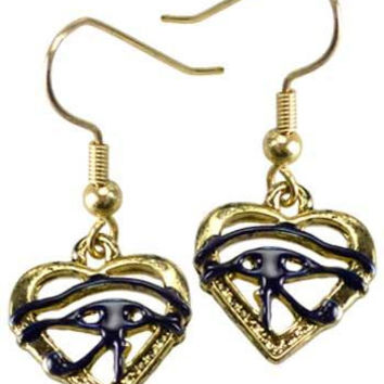 Eye Of Horus Heart Earrings