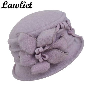 Lawliet Women Winter Hat Warm Pure Wool Cap Elegant Flower Floppy Hat Middle Age Female Fedoras Lady Cloche Bucket Church Hat