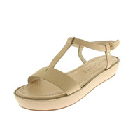 Elizabeth and James Womens Ecree Leather Chunky T-Strap Sandals