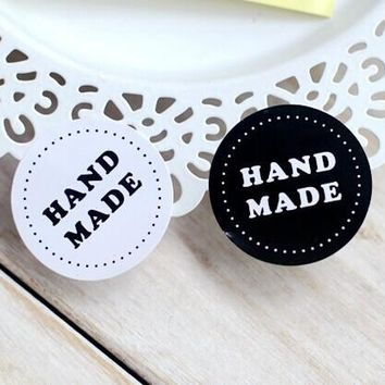 80PCS/lot Round Black and white HAND MADE Craft paper Sealing sticker/Vintage DIY Gifts posted/Baking Decoration label