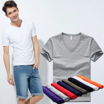 Summer Men Cotton Stretch Casual V-neck Slim Men's Fashion T-shirts [6541359427]