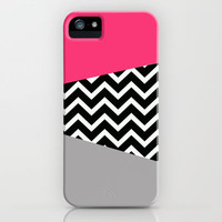 Hot Pink Grey Black Chevron Pop iPhone Design iPhone & iPod Case by RexLambo
