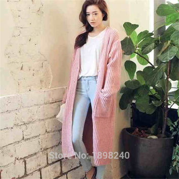 Christmas sweater Europe 2016 Autumn loose super long pale pink beige cardigan sweater coat female new