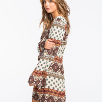 Full Tilt Boho Print Bell Sleeve Dress Cream Combo  In Sizes