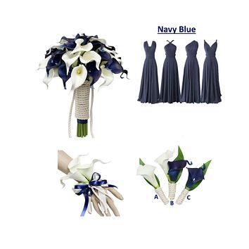 Navy Blue Ivory Theme - Real-touch Artificial Calla Lily with Boat Cotton Rope