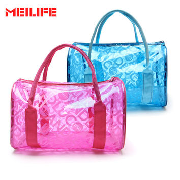 Women Swimming Waterproof Handbags Transparent PVC Plastic Pouch Beach Bags Organizer Sack Swimming Bag Letter Print Totes
