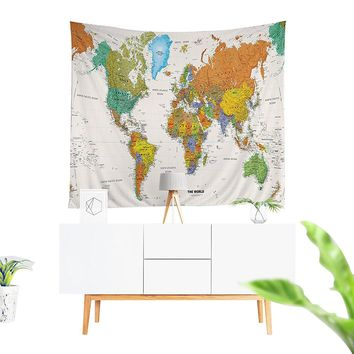 Map of The World Bohemian Fabric Tapestry