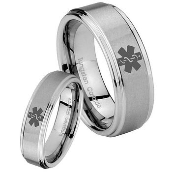 His and Hers Step Edge Medical Alert Tungsten Silver Wedding Rings Set
