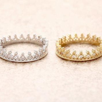 Trendy Jisensp Korean Style Retro Crystal Hollow Crown Shaped Queen Temperament Rings for Women Party Wedding Ring Jewelry Free Shippin AT_94_13