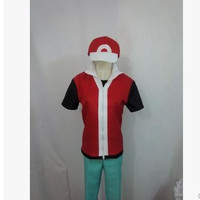 Anime Pokemon Trainer Red with white Cosplay Costume 3/lot costum any size