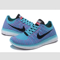 Nike free RN flynit running sneakers Sport Casual Shoes Sneakers Light Blue black hook