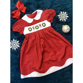 2018 Christmas Smock Wreath & Candy Cane Dress