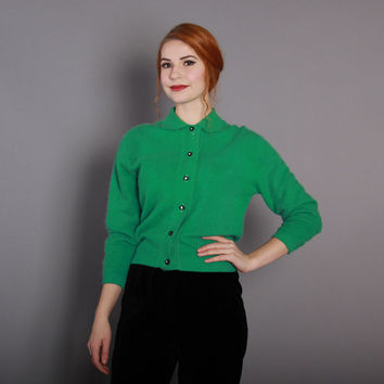 1950s Emerald Green ANGORA CARDIGAN / Fluffy Vintage 50s Pin Up Sweater with Rhinestone Buttons, m