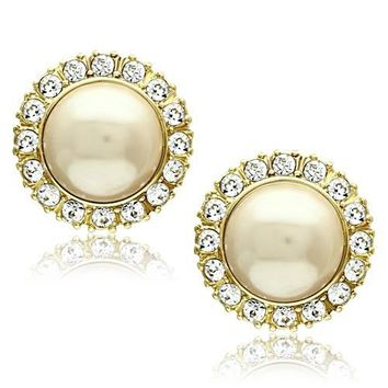 CZ Gold Pearl Stud Stainless Steel Earrings