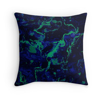 'Neon Blue and green on dark, marble texture.' Throw Pillow by kakapostudio
