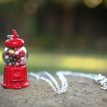 Kawaii Gumball Machine Necklace, Candy Necklace, Gumball Machine Costume, Red Kawaii Necklace, Children's Necklace, Kid Sizes, Sprinkles