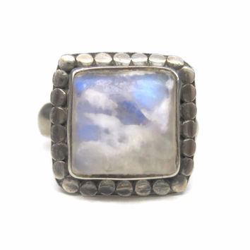 Vintage 90s Sterling Moonstone Ring Size 6.5