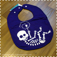 Purple Baby Skeleton Baby Bib - Recycled T-Shirt Bib - Reversible - OOAK - Baby Girl - Halloween