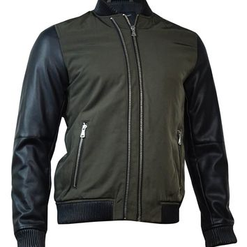 INC International Concepts Men's Faux Leather Sleeve Bomber Jackets S, Olive