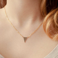 Minimalist triangle necklace - Dainty tiny triangle necklace - Gold filled geometric jewelry