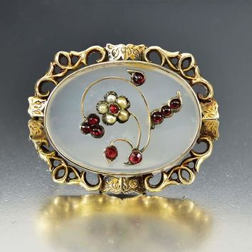 Large Antique Gold Chalcedony, Pearl & Garnet Brooch
