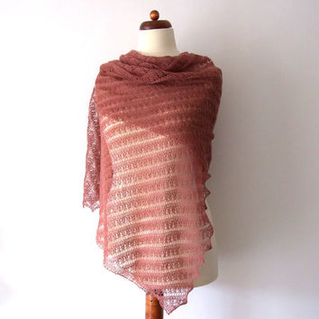 elegant lace shawl, antique rose, handknit stole, bridal wrap