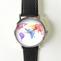 Colorful Map Watch, Vintage Style Leather Watch, Women Watches, Boyfriend Watch, World Map, Men's Watch,  Silver Gold Rose, Travel