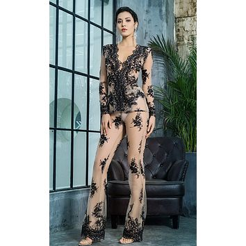 Lust In The Moment Black Sheer Mesh Lace Long Sleeve Plunge V Neck Flare Leg Loose Two Piece Jumpsuit