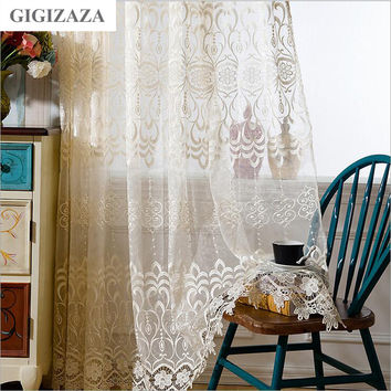 Ivory color jacquard embroidery window tulle voile curtains for livingroom bedroom custom drape transparent window sheer