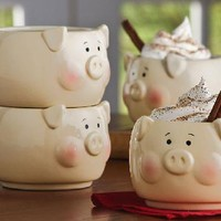 Country Farmhouse Kitchen 4 Pc. Pig Stacking Mug Set