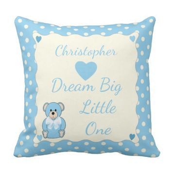 Blue Teddy Bear Cushion / Pillow nursery decor