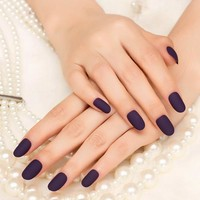 Popular 24Pcs Matte Fake Nails Purple Classical Noble False Nails Matte Oval Artificial Nails nep nagels
