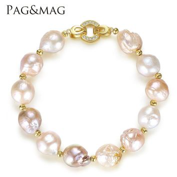 PAG&MAG Brand Freshwater Pearl Strand Bracelet 12-13mm Natural Multi Color Baroque Style Trendy Bracelet For Women Jewelry Gift
