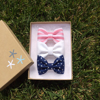 Cute 4th of July set. Blue dot, white denim, and light red stripes.  Sparrow bows make the perfect birthday gift.