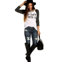 Sale-charcoal You Canx Sit With Us Top